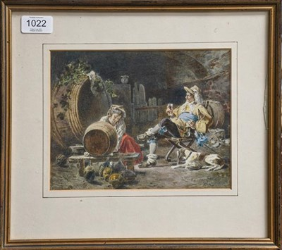Lot 1022 - Italian School (19th century) In the wine cave, indistinctly signed, watercolour, 17cm by 22cm