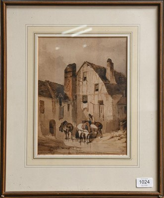 Lot 1024 - Follower of R.P Bonnington (19th century) Figures and horses outside a cottage, indistinctly...
