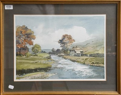 Lot 1030 - Sam Chadwick (1902-1992) Moreland river landscape, signed watercolour, 33cm by 45.5cm together with
