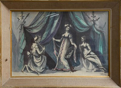 Lot 1031 - G Pemble (20th century) figures in the Regency style dancing etc, signed mixed media on paper, 40cm