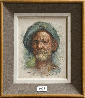 Lot 1032 - Oil on canvas portrait and an oil on canvas of a boat, burr walnut framed (2)