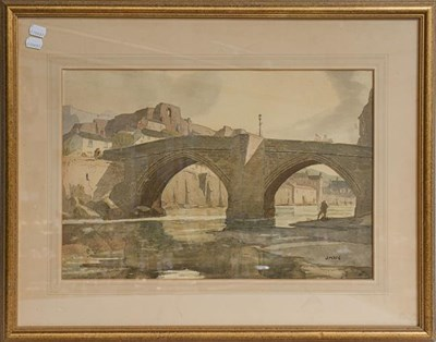 Lot 1035 - Pair of watercolours J Mace, Durham Castle & Corfe Castle?