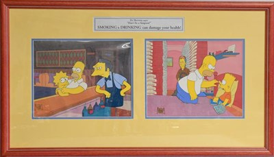 Lot 1037 - A Flinstones animation cell autographed by William Hanna and Joseph Barbera together with a pair of