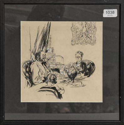 Lot 1038 - Steven Spurrier RA, RBA (1878-1961) Afternoon Tea, signed, black ink heightened with white, 23cm by