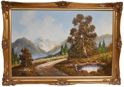 Lot 1041 - Contemporary oil on canvas, haymaking scene, 50cm by 60cm, together with another mountain...