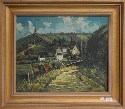 Lot 1043 - D Kessler (contemporary) European village scene, signed oil on canvas, 50cm by 60cm