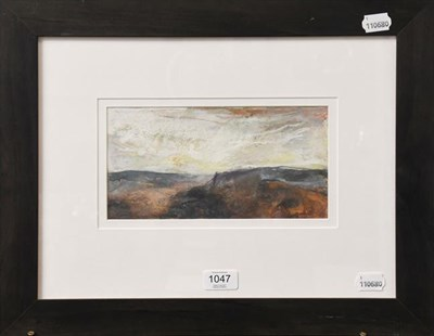 Lot 1047 - Peter Hicks (contemporary) Moorland view, initialled mixed media, 12.5cm by 24.5cm