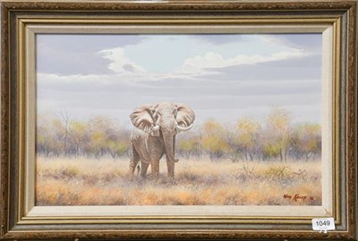 Lot 1049 - Wim Kosch (Contemporary) South African Elephant, Signed and dated (19)96, oil on board, 31cm by...