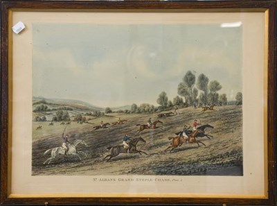 Lot 1053 - Set of four 19th century racing prints, Races at St Albans Grand Steeplechase (4)