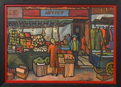 Lot 1056 - Christopher Stones (20th/21st century) ''Pettycoat Lane Fruit Market'' signed, inscribed verso, oil