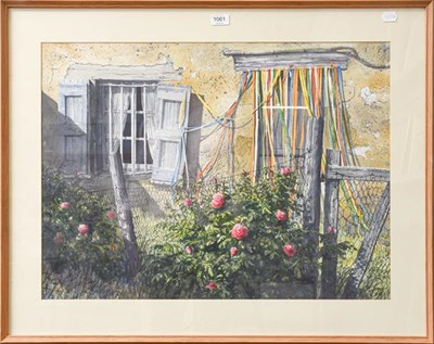 Lot 1061 - Penny Lindop (Contemporary) picture of sheep, mixed media together with a large cottage exterior by