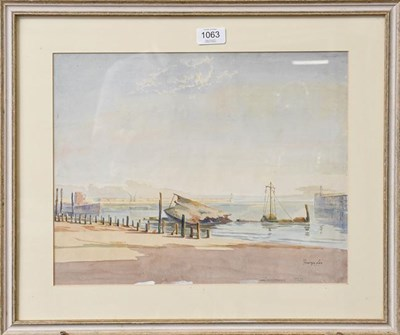 Lot 1063 - George Lee (20th century) Zeebrugge 1920, signed, watercolour, 31cm by 39cm