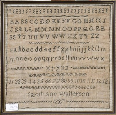 Lot 1064 - Alphabet sampler worked in black threads by Sarah Ann Walterson dated 1837 and another by Mary...