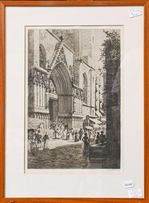 Lot 1065 - A collection of seven assorted framed prints to include Axel Haig, Continental cathedral views,...
