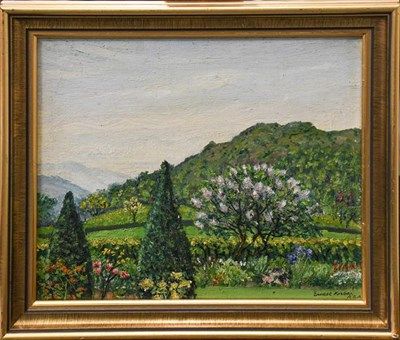 Lot 1066 - Ernest Forbes RBA (1879-1962) a country garden, signed oil on board, 26.5cm by 35cm, together...