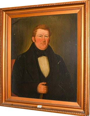 Lot 1069 - 19th century English Naive school, portrait of a man, oil on canvas, 75cm by 62cm