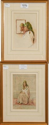 Lot 1070 - Laurence Harris (19th century) Scenes from a Harem, a pair, signed, watercolour (2)