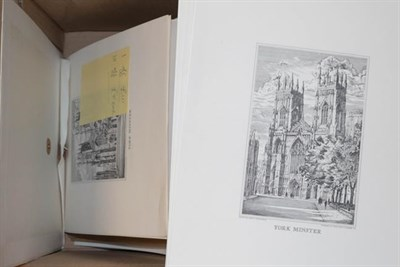 Lot 1072 - A large quantity of engravings of Yorkshire and prints of York Minster, plate negatives and boards