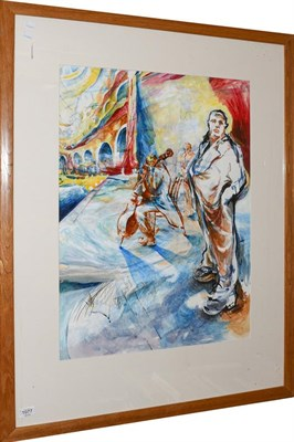 Lot 1077 - Piers Browne, Botham Bar from York Minster and another oil on paper, inscribed Alex? 1996 (2)