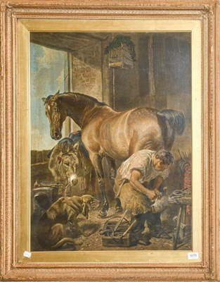 Lot 1079 - After Landseer (1802-1873) Shoeing the Bay Mare, lithograph, 75cm by 59cm