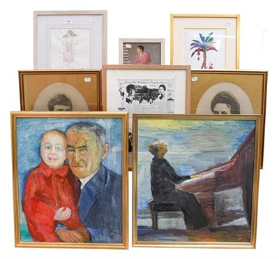 Lot 1081 - Contemporary school, portrait of a man playing piano, oil on board unsigned, 60cm by 55cm, together