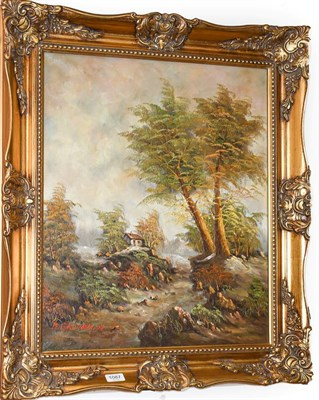 Lot 1087 - B Groneman (20th century) country landscape, together with a further landscape 60cm by 50cm