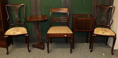 Lot 1089 - A mahogany tambour-front bedside cabinet, a 19th century games table, three chairs and a pine delft