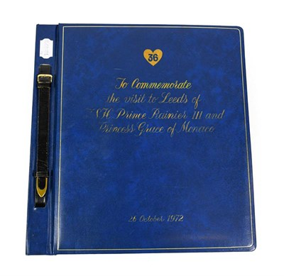 Lot 3009 - Photographic Album 'To Commemorate The Visit To Leeds Of HSH Prince Rainier III And Princess...