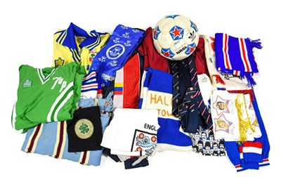 Lot 3012 - Various Football Shirts And Scarves including Southampton Wembley 1976, Halifax Town scarf,...