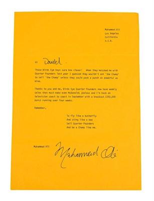 Lot 3014 - Muhammad Ali Signed Letter beginning 'Hi David' and addressed Muhammad Ali Los Angeles...