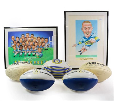 Lot 3021 - Leeds Rugby League FC Two Signed Prints (i) caricatures of players with multiple autographs...