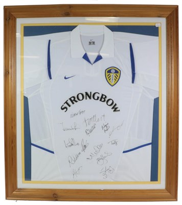 Lot 3022 - Leeds United Football Club Signed Shirt bearing 14 signatures including Eddie Gray, framed with...