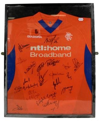 Lot 3025 - Rangers Football Club Away Signed Shirt 1993/94 orange/blue