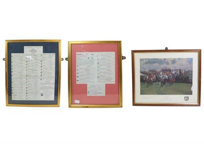Lot 3032 - Martell Grand National 1997 ''The Race That Never Was'' Signed Race Card (framed) together with...