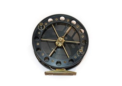 Lot 3034 - A 4 1/2'' Aerial Type Centrepin Reel with six spokes and 1'' wide drum. Unmarked but believed...