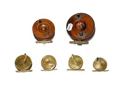 Lot 3037 - A C Farlow 2 1/4'' Brass Crank Wind Reel together with three further brass crank wind reels and two