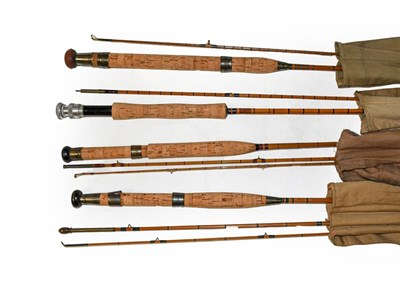 Lot 3050 - A Collection Of Six Various Cane Rods mostly unbranded to include three 9' fly rods, a 7'...