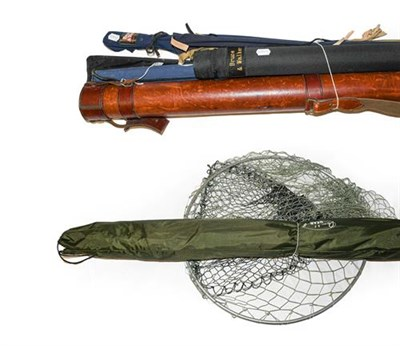 Lot 3059 - A Collection Of Various Rods And Nets comprising of a custom carbon rod 10', A Shakespeare...