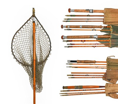 Lot 3062 - A Collection Of Various Rods to include a Hardy Wye 3 section cane salmon rod 13'-6''. A Hardy...