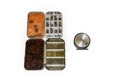 Lot 3069 - A Hardy  'Fly Reel'  3 3/8'' fly reel together with a Hardy Neroda dry fly box and a Wheatley...