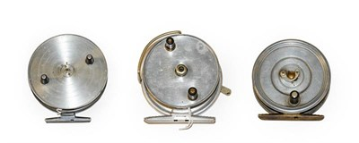 Lot 3078 - A Hardy Conquest Centre Pin Reel in a Hardy drawstring pouch. A Hardy Longstone 4'' fly reel...
