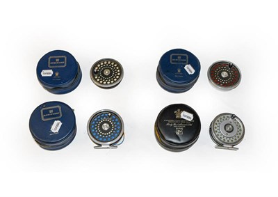Lot 3084 - A Hardy Marquis #7 Multiplier Fly Reel along with a Hardy Marquis #10 fly reel and two spare...