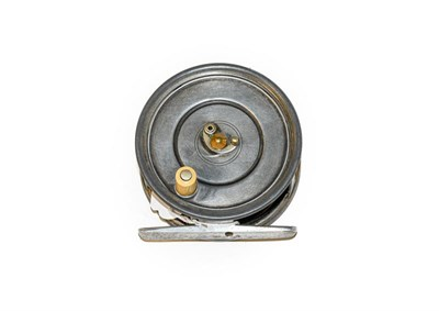 Lot 3089 - A Hardy Patent Uniqua 3 3/4'' Wide Drum salmon Fly Reel with horseshoe latch, ivorine handle...