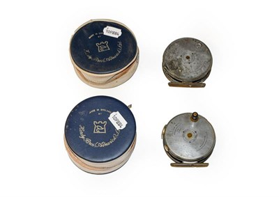 Lot 3090 - A Hardy Perfect 3 3/8'' RHW Fly Reel with agate line guard and a further similar model showing...