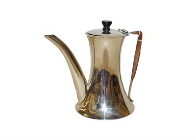 Lot 2 - A George V silver coffee pot by Ernest Druiff and Co. Birmingham 1920, centrally waisted...