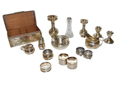 Lot 8 - A collection of assorted silver, including a cigarette-box, a bowl with pierced border, a cream...