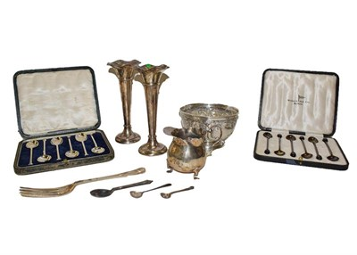 Lot 9 - A collection of assorted silver, comprising a sugar bowl, chased with foliage, a pair vases,...