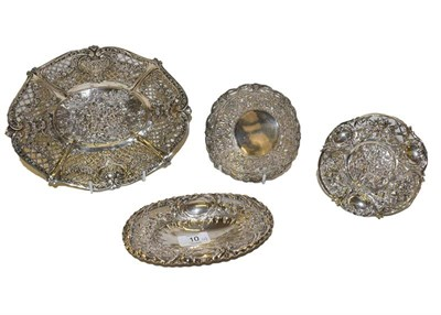 Lot 10 - Two German silver baskets, each with crown and moon standard mark, one oval, the other...