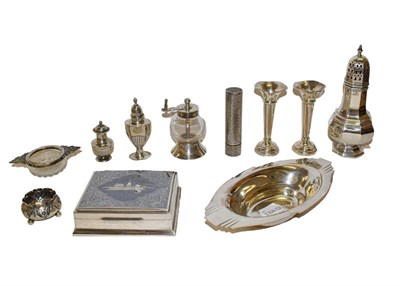 Lot 14 - A collection of assorted silver and silver plate, the silver comprising an octagonal caster, a pair