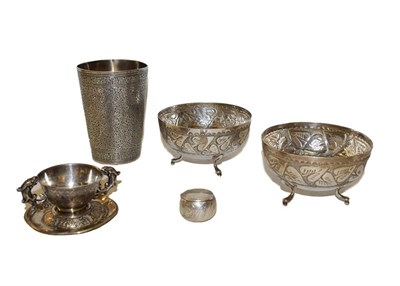 Lot 20 - A collection of assorted silver including an Indian beaker, a Chinese cup and saucer, a pair of...